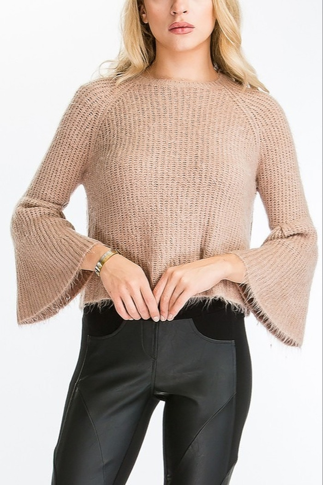 Olivaceous  Bell Sleeve Sweater - Front Cropped Image