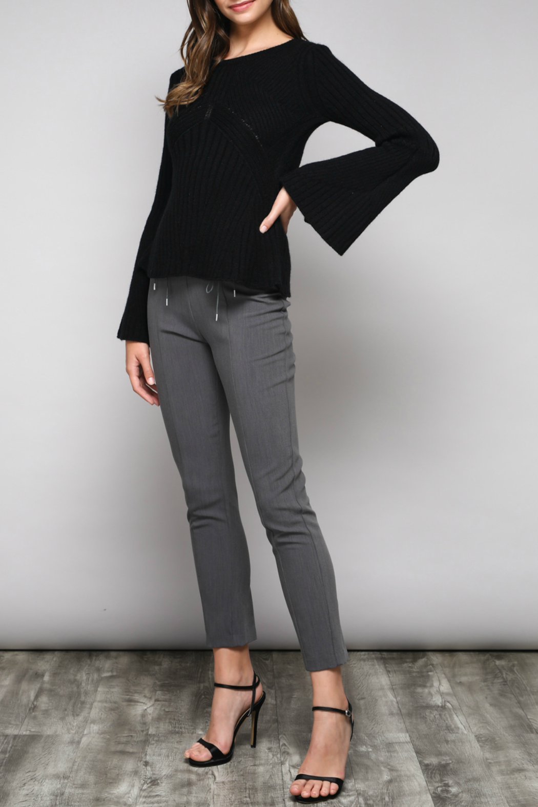 Do & Be Bell Sleeve Sweater With Rib Details - Back Cropped Image