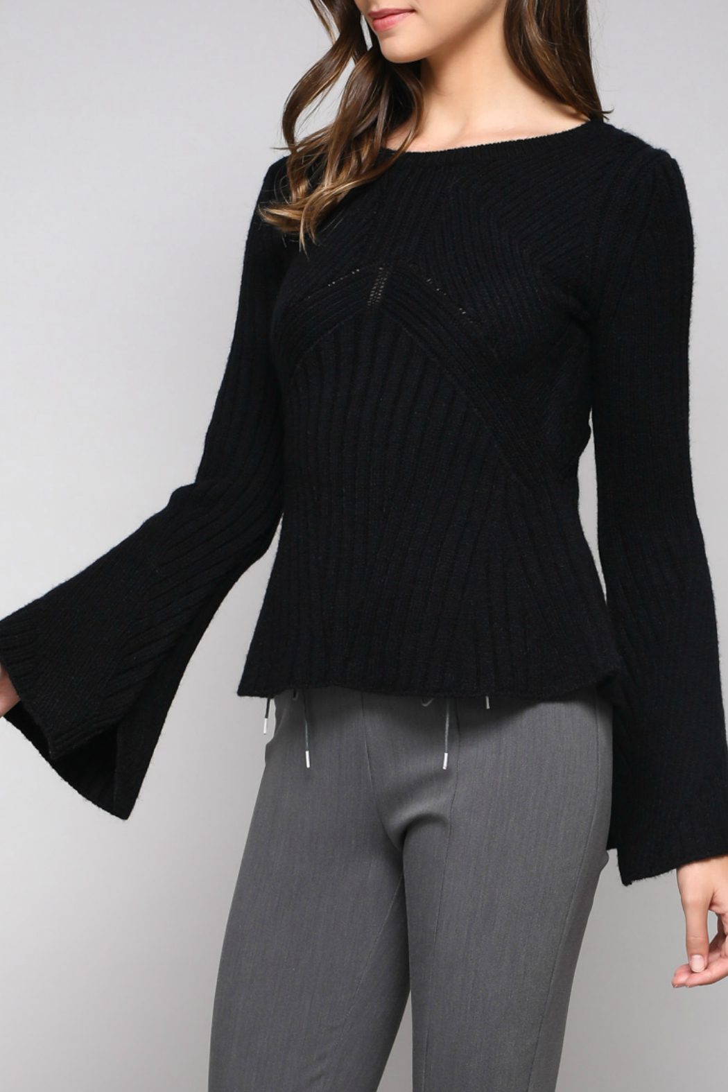 Do & Be Bell Sleeve Sweater With Rib Details - Front Full Image