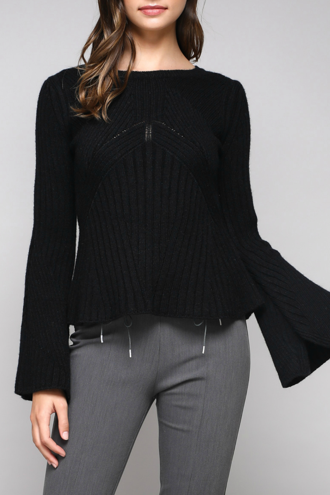 Do & Be Bell Sleeve Sweater With Rib Details - Front Cropped Image
