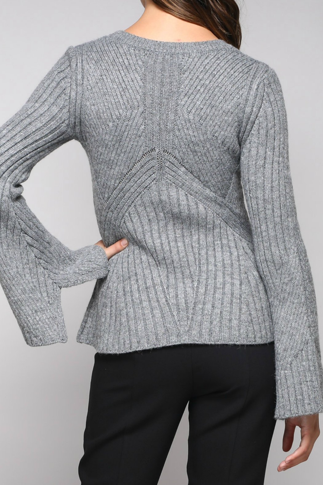 Do & Be Bell Sleeve Sweater With Rib Details - Side Cropped Image