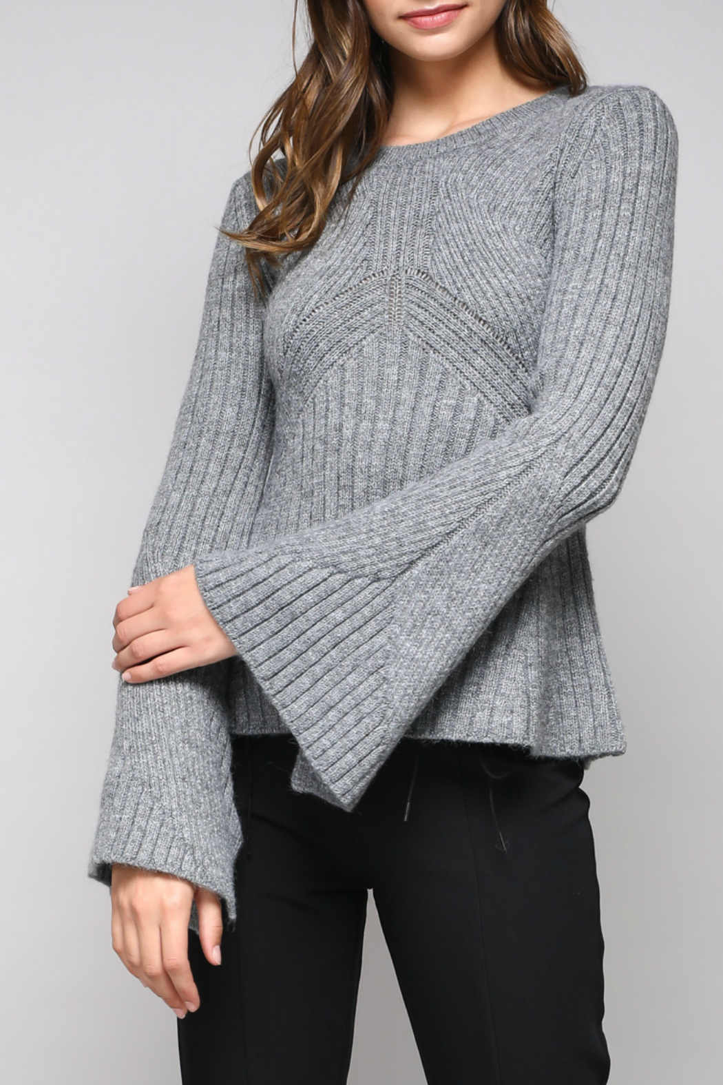 Do & Be Bell Sleeve Sweater With Rib Details - Main Image