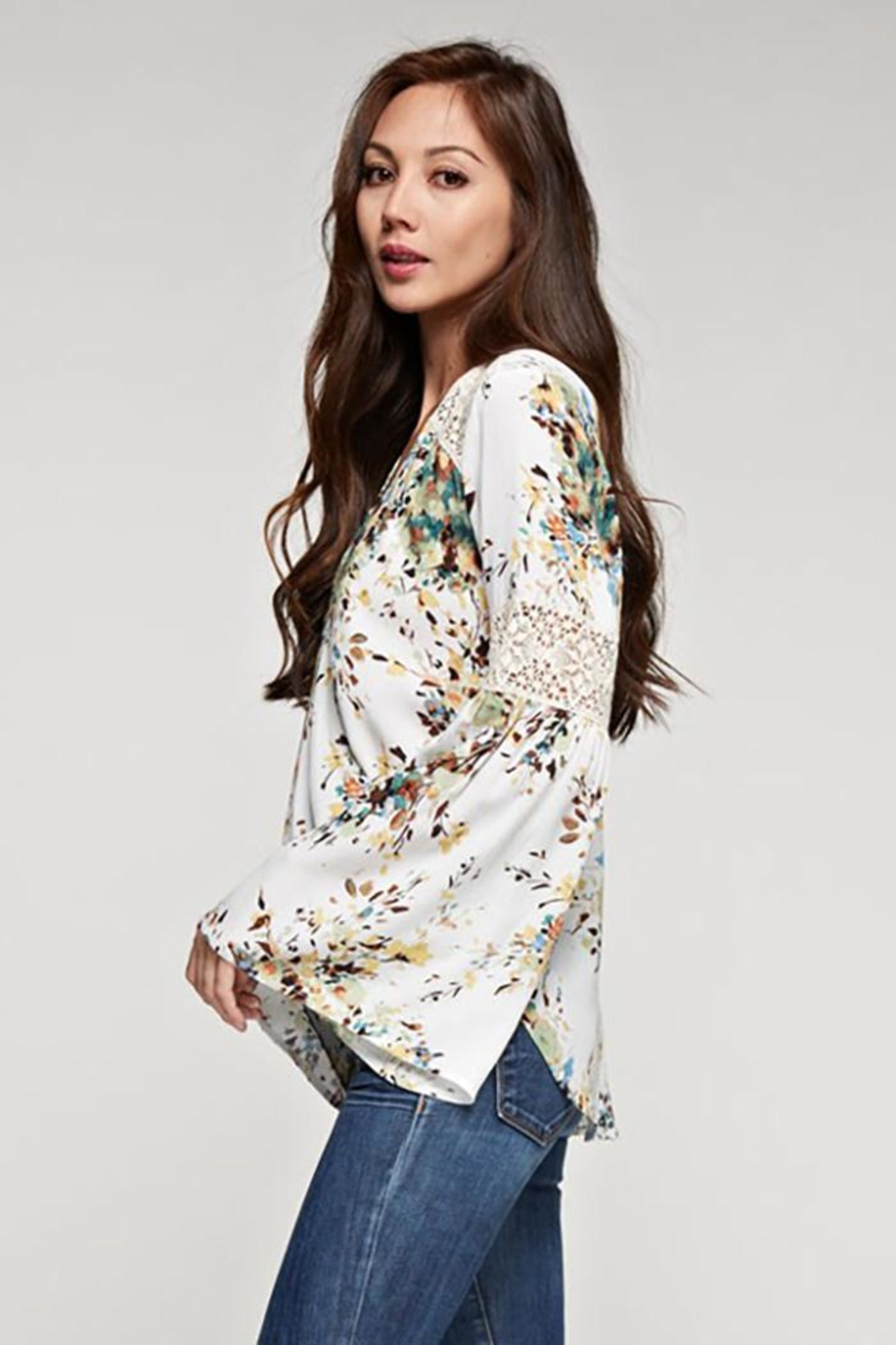 Lovestitch Bell Sleeve Top - Back Cropped Image