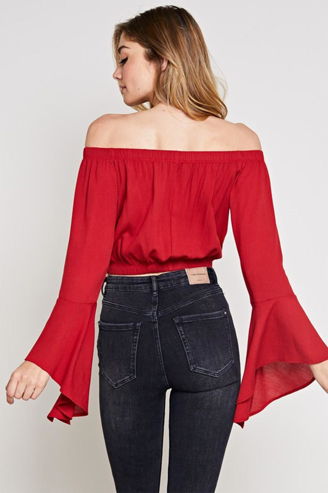 blue blush Bell Sleeve Top - Side Cropped Image