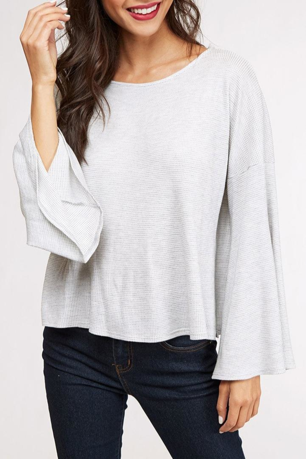 Peach Love California Bell Sleeve Top - Front Cropped Image