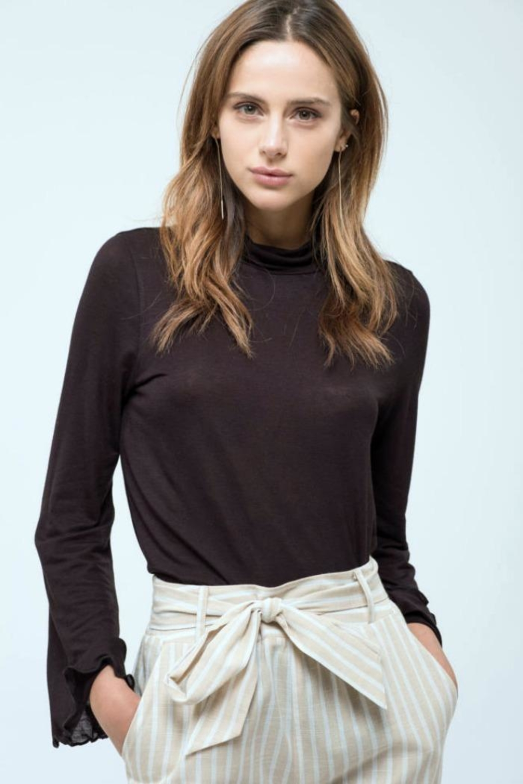 Blu Pepper Bell-Sleeve Turtle-Neck Top - Front Cropped Image