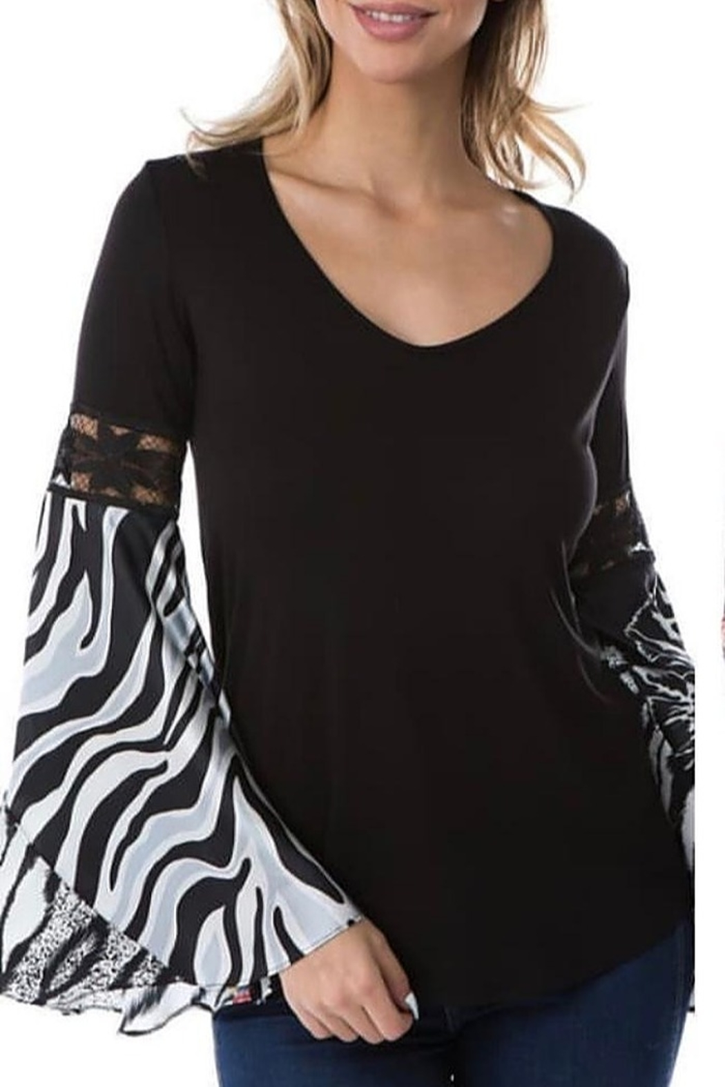 Vava by Joy Hahn Bell Sleeve V Neck Top with Zebra Print - Main Image