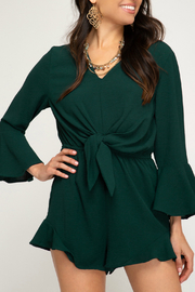 She + Sky BELL SLEEVE WOVEN ROMPER WITH FRONT TIE DETAIL - Product Mini Image