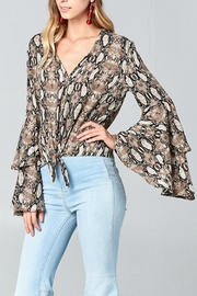 hummingbird Bell-Sleeves Snake Blouse - Product Mini Image