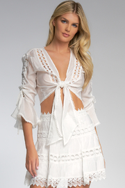 Elan  BELL SLEVE TIE FRONT TOP - Product Mini Image