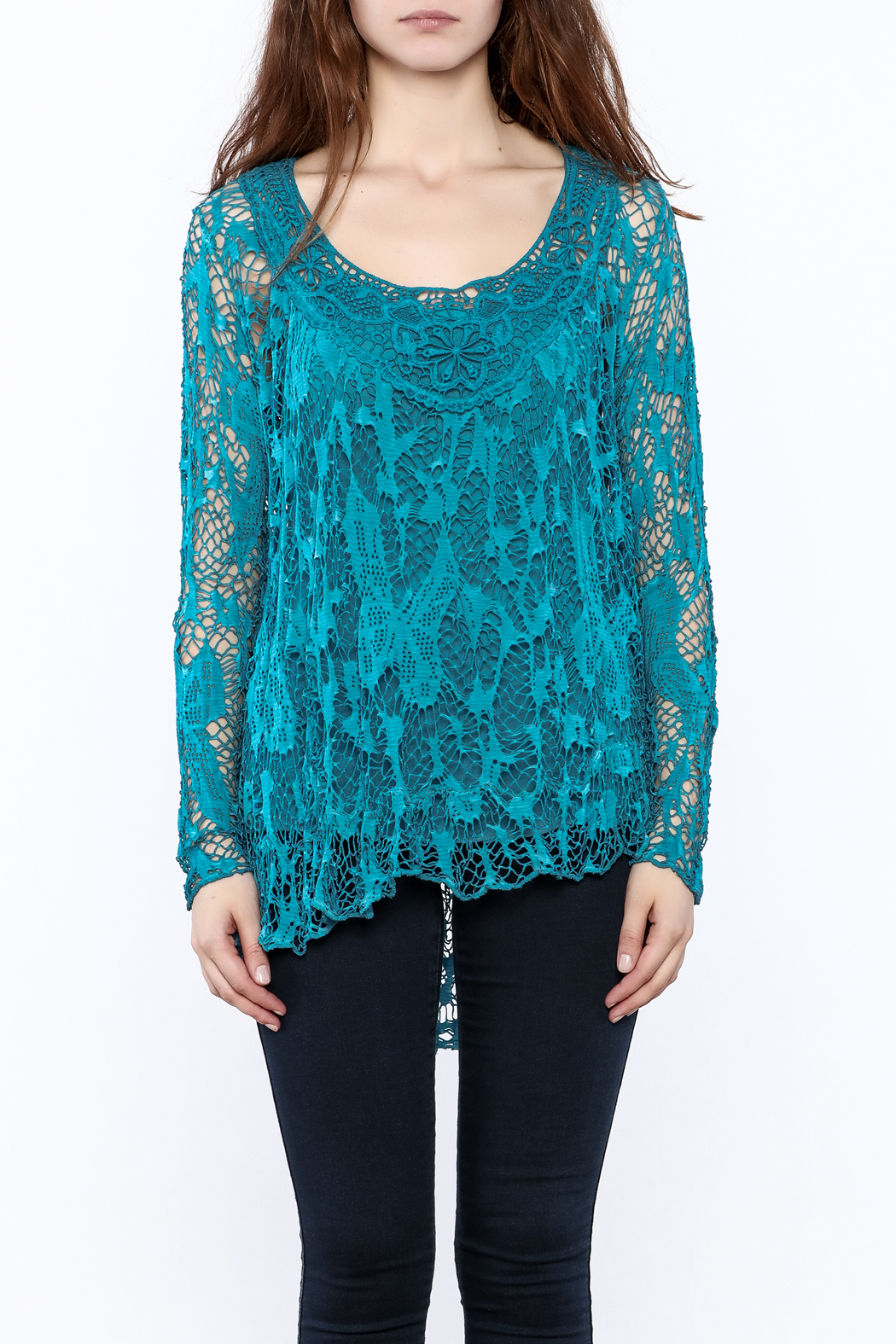 Bella Amore Turquoise Lace Tunic From California By La