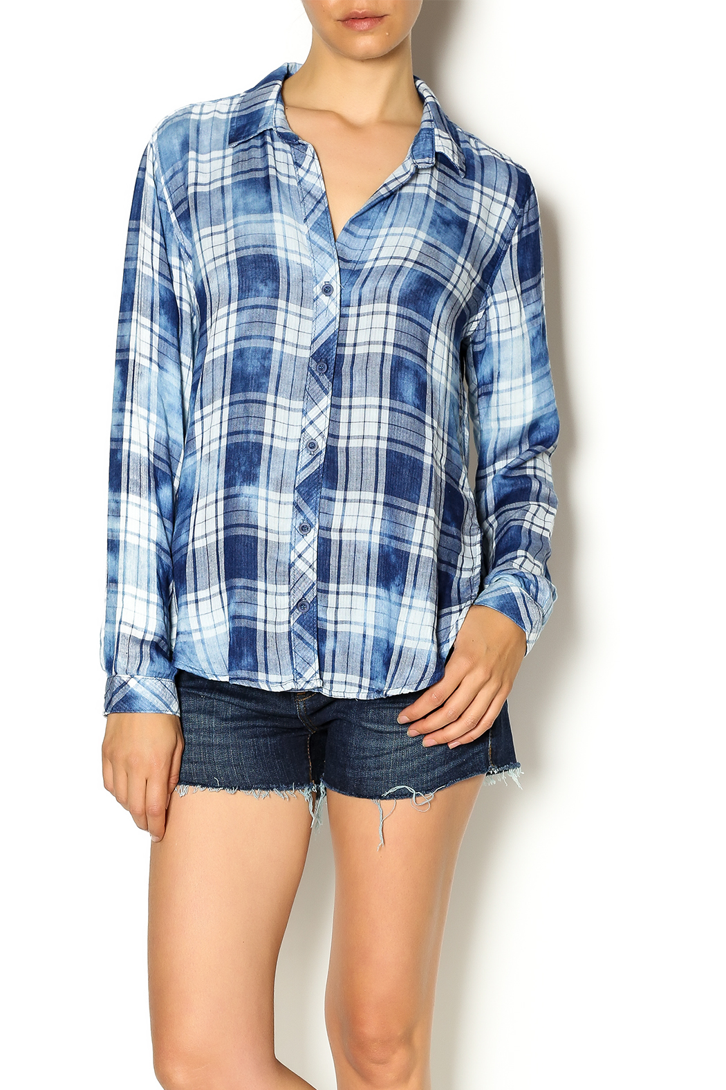 bella dahl plaid button down from california by klozet