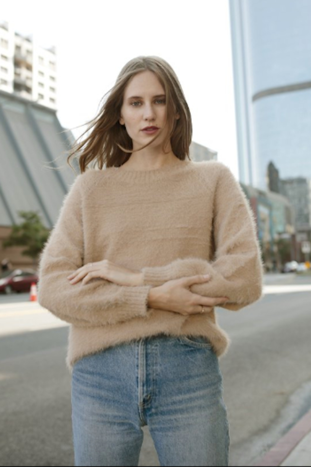 Greylin Bella Fuzzy Knit Pullover - Side Cropped Image