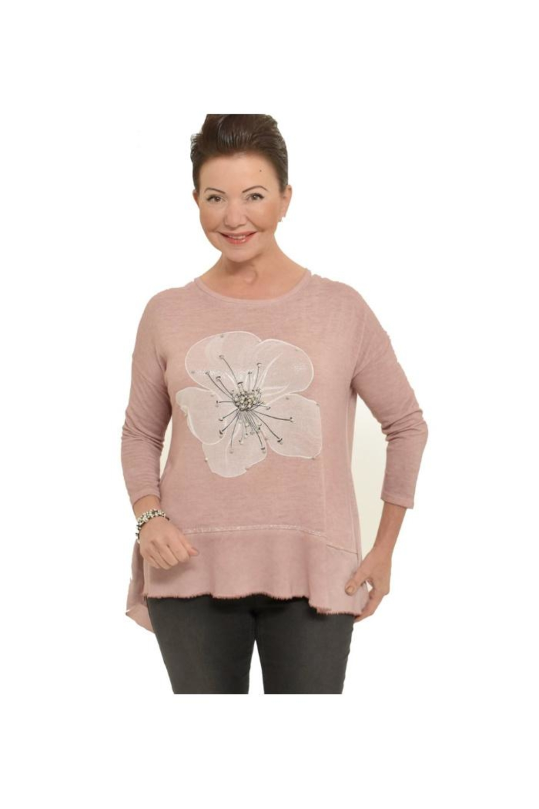 Bella Amore Soft Pinkflower Top - Front Cropped Image