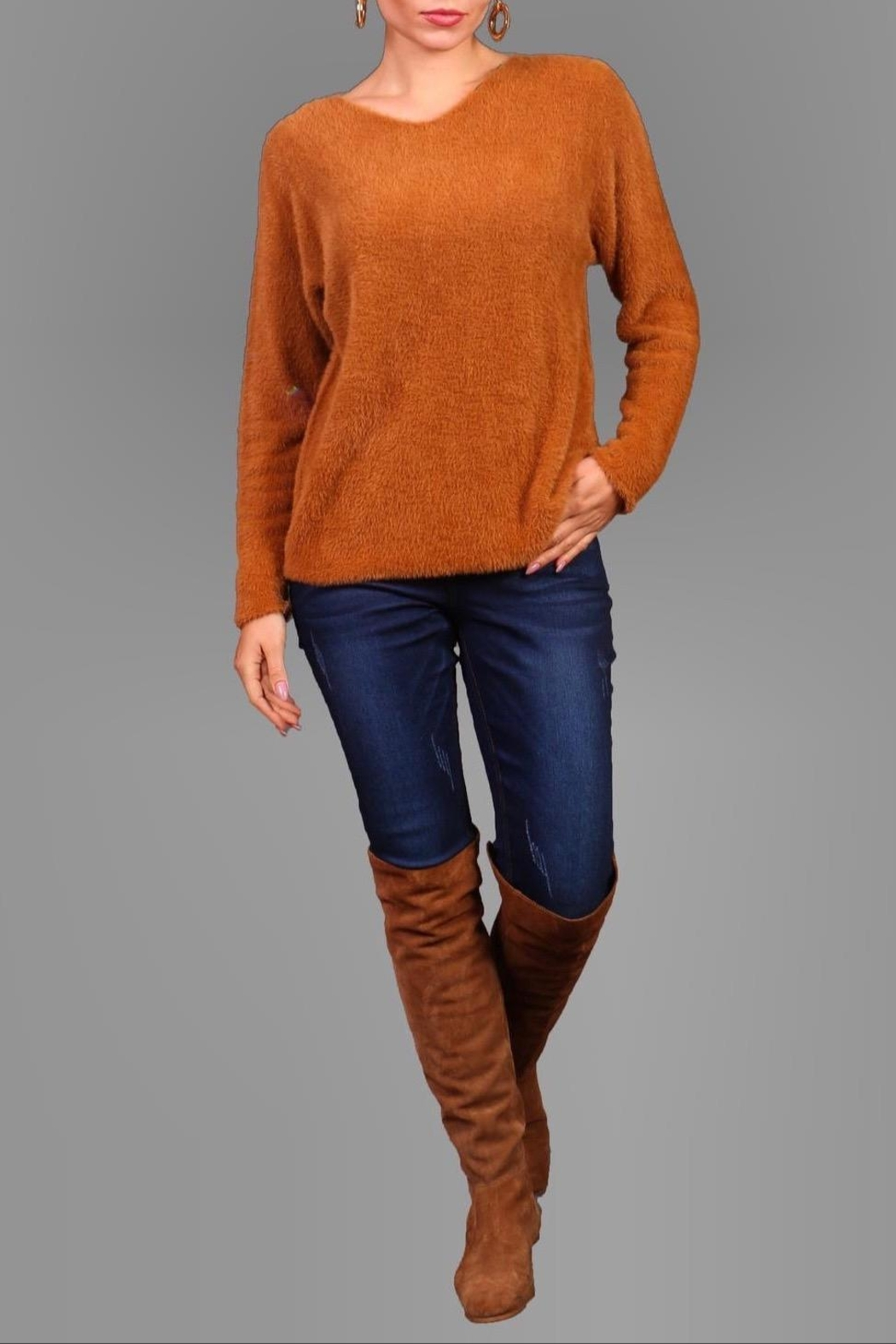 Bella Amore Super-Soft Camel Sweater - Front Full Image