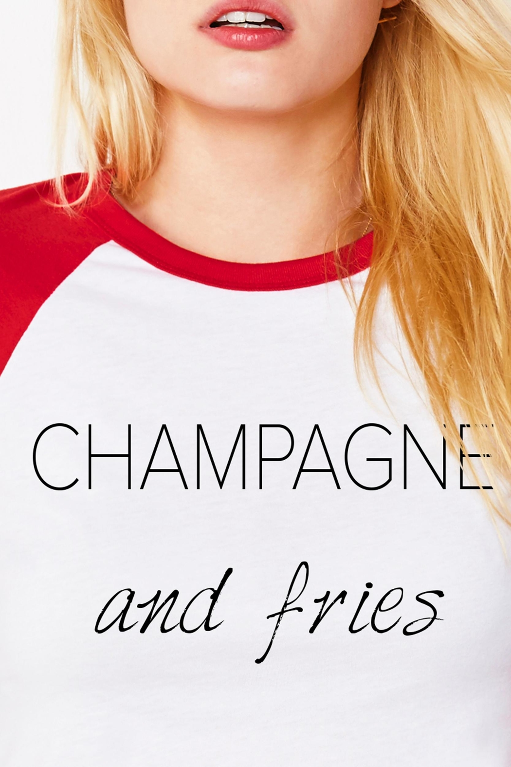 Bella Canvas Champagne & Fries Tee - Front Full Image