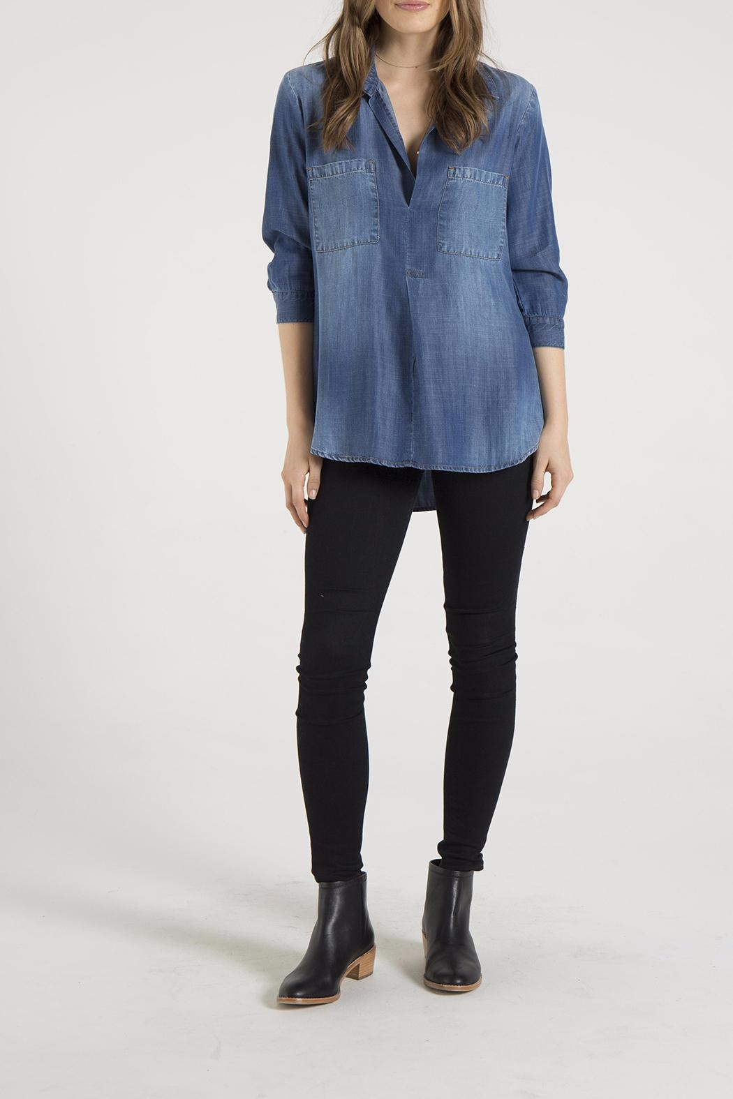 Bella Dahl Chambray Placket Pullover - Front Cropped Image