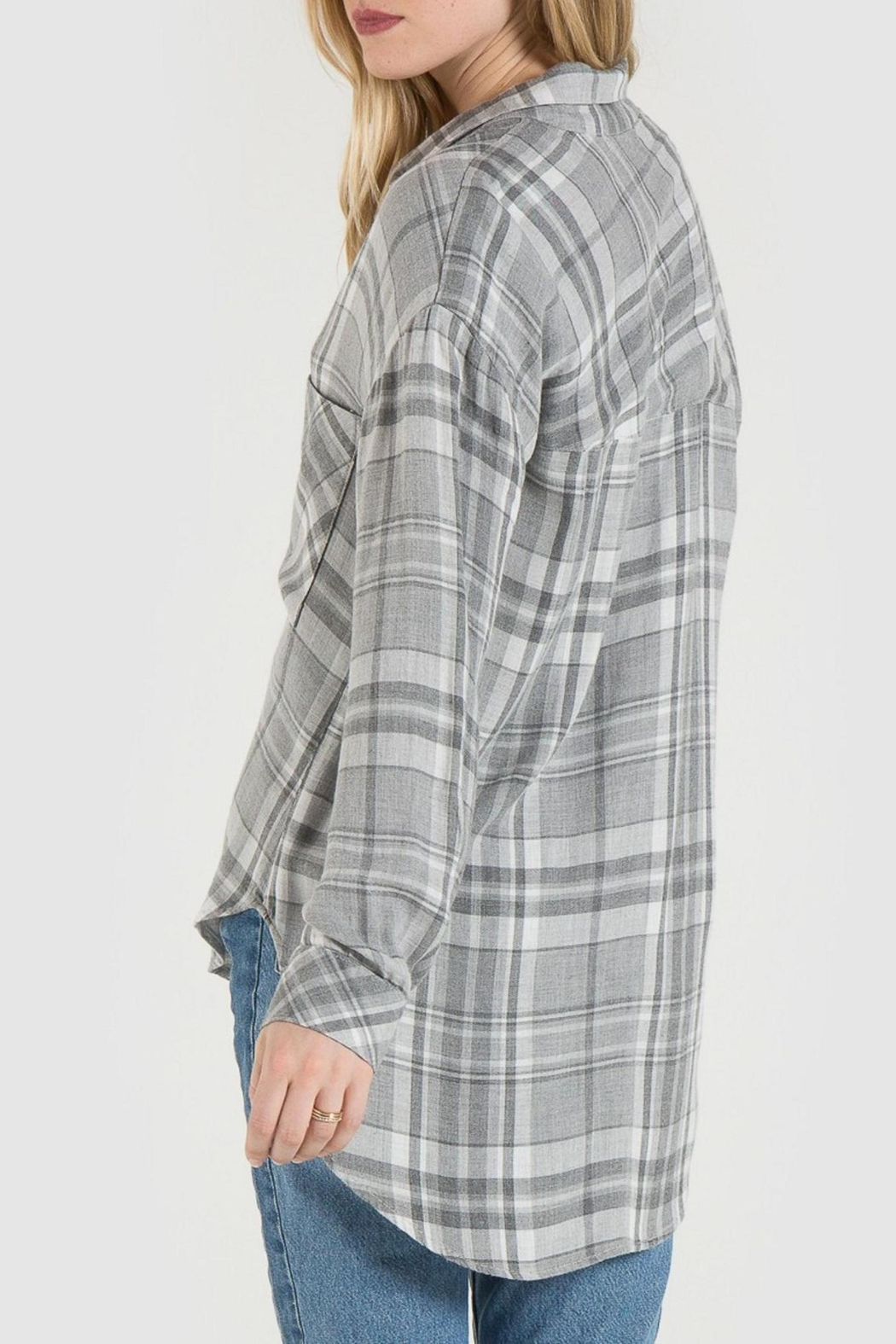 Bella Dahl Grey Plaid Shirt - Front Full Image