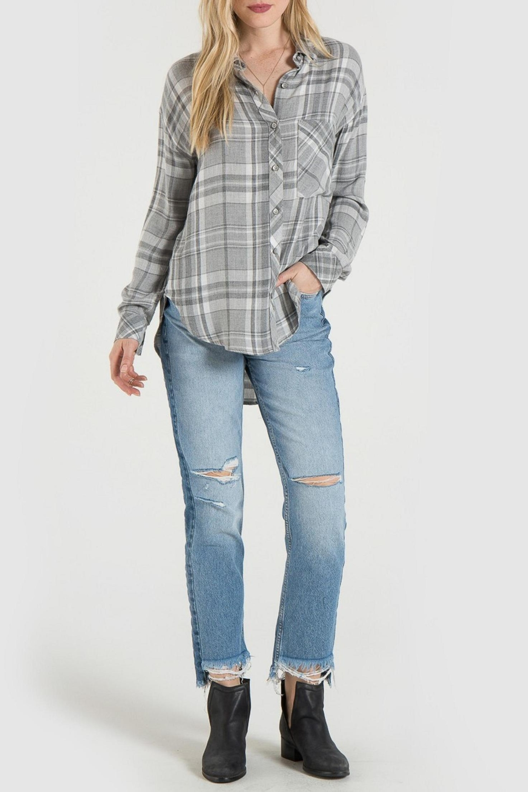 Bella Dahl Grey Plaid Shirt - Main Image