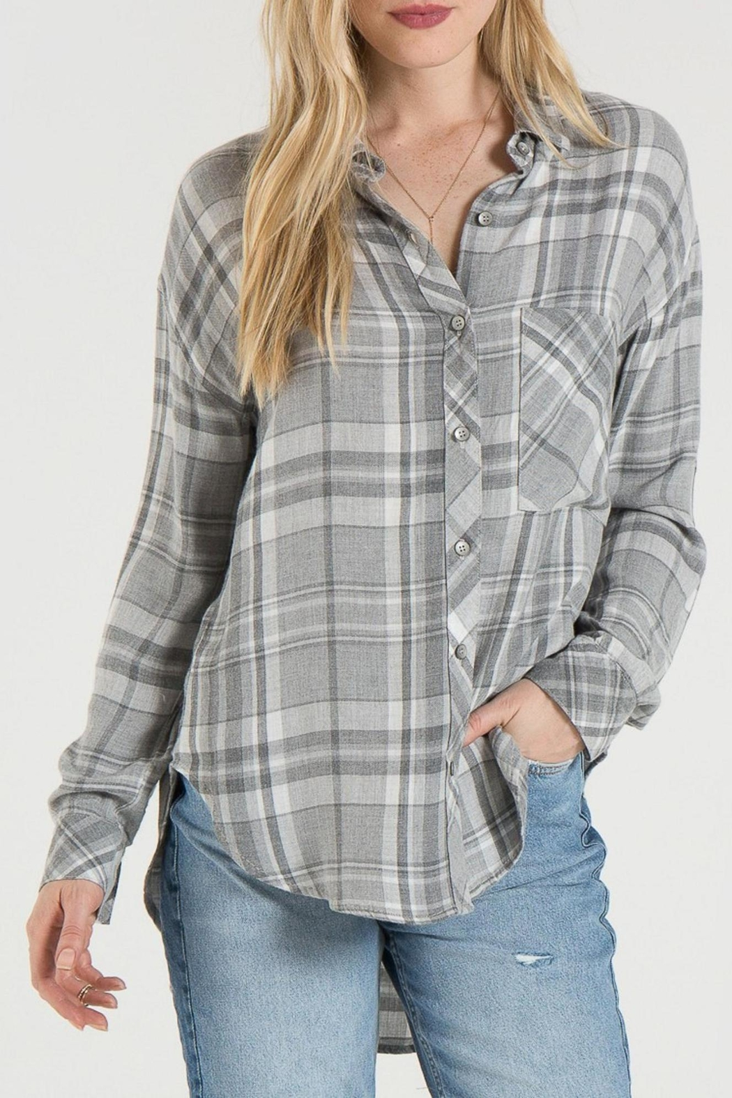 Bella Dahl Grey Plaid Shirt - Back Cropped Image