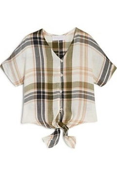 Shoptiques Product: Plaid Front-Tie Top