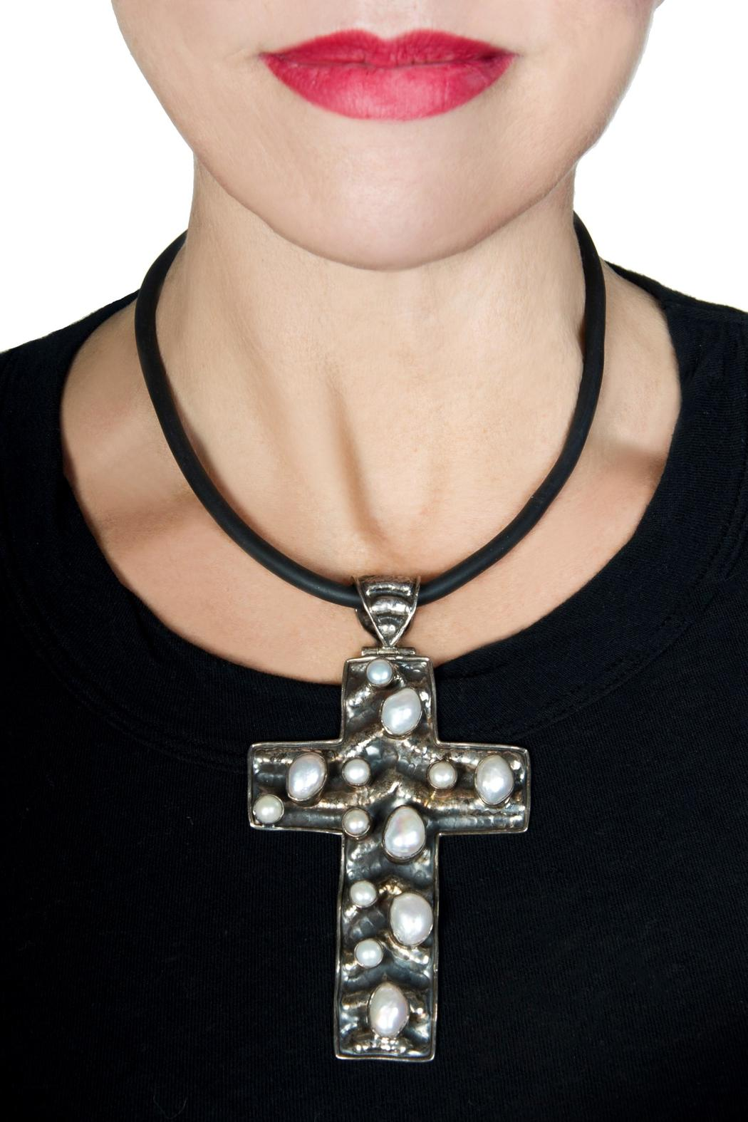 bella Forte Boutique Silver Cross Necklace - Front Full Image
