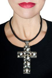 bella Forte Boutique Silver Cross Necklace - Front full body