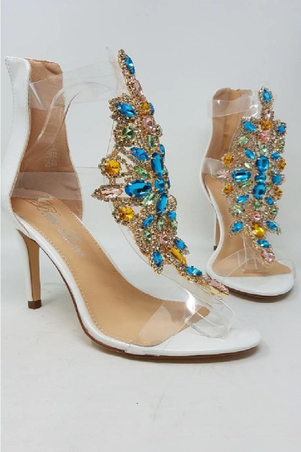 Bella Luna by Springland Footwear Rylee-08 Bella Luna Rhinestone Accent Transparent Straps Rear Zip Stiletto Heels White Multi - Front Full Image