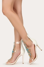 Bella Luna by Springland Footwear Rylee-08 Bella Luna Rhinestone Accent Transparent Straps Rear Zip Stiletto Heels White Multi - Back cropped