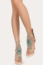 Bella Luna by Springland Footwear Rylee-08 Bella Luna Rhinestone Accent Transparent Straps Rear Zip Stiletto Heels White Multi - Side cropped