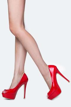 Bella Marie Peep Toe Red Pumps - Product List Image