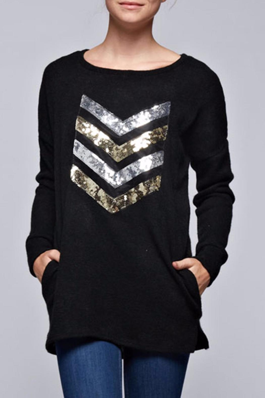 Bellamie Black Chevron Top - Front Cropped Image