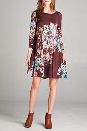 Bellamie Burgundy Floral Dress - Product Mini Image