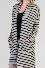 Bellamie Grey Striped Cardigan - Product Mini Image