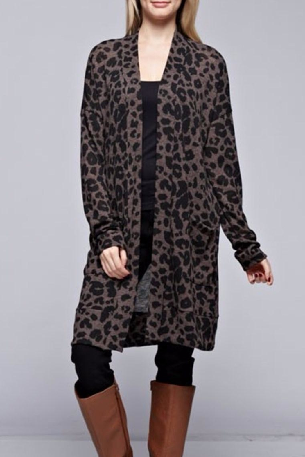 Bellamie Leopard Cardigan - Front Cropped Image