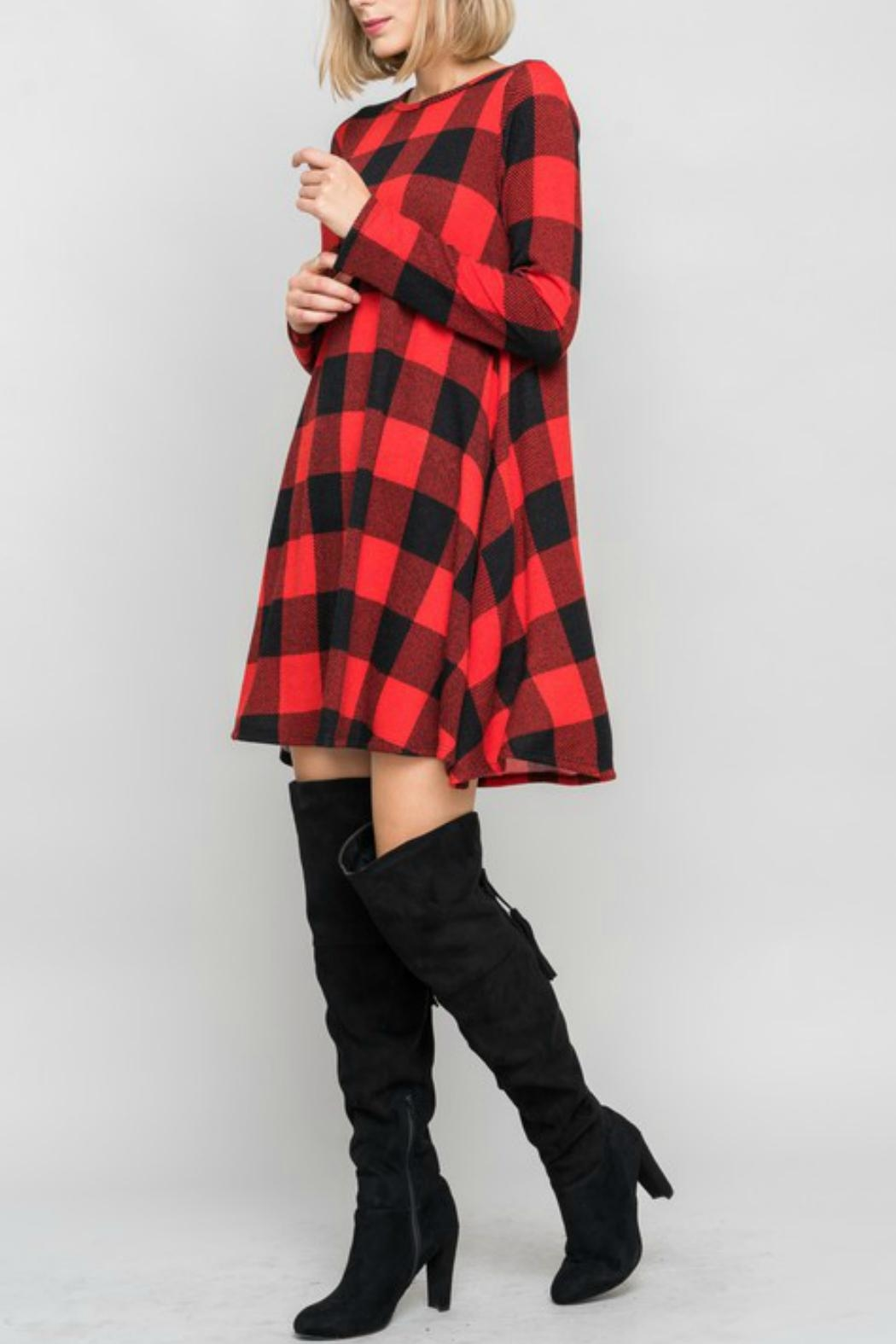 Bellamie Plaid Swing Dress - Side Cropped Image