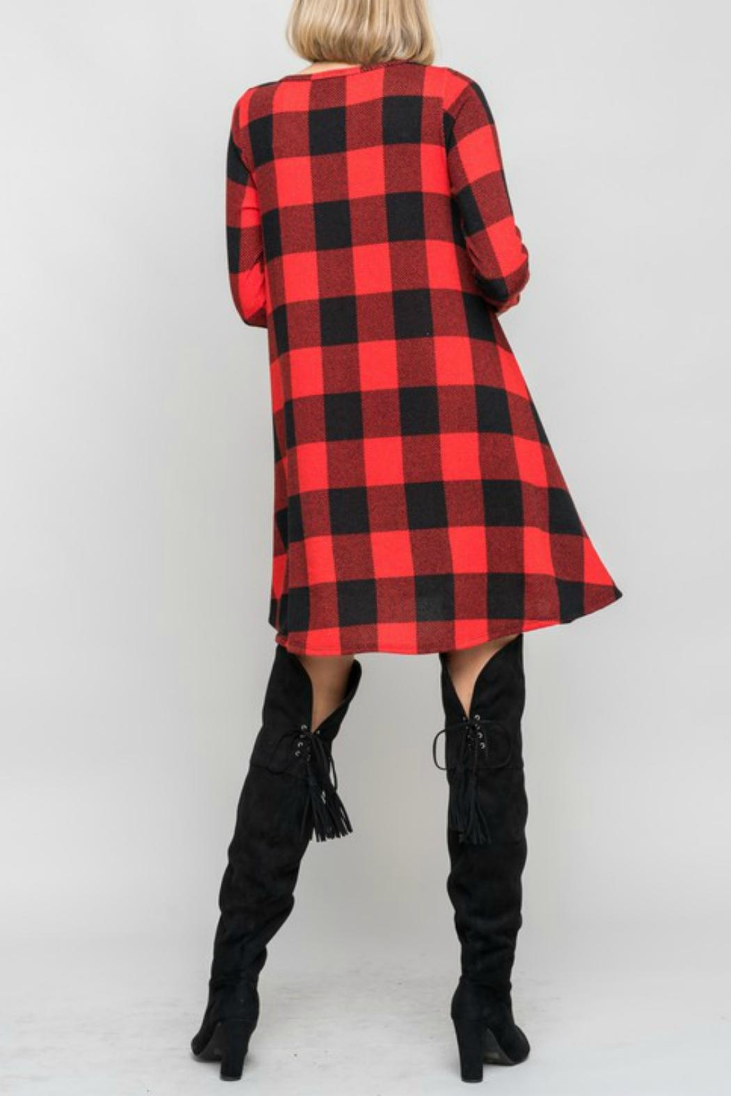 Bellamie Plaid Swing Dress - Front Full Image