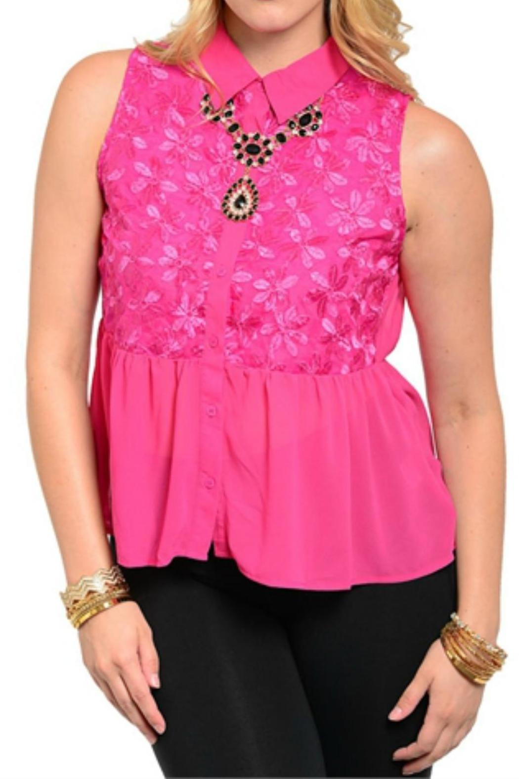 Bellezza Boutique Plus-Sized Pink Chiffon Top - Main Image