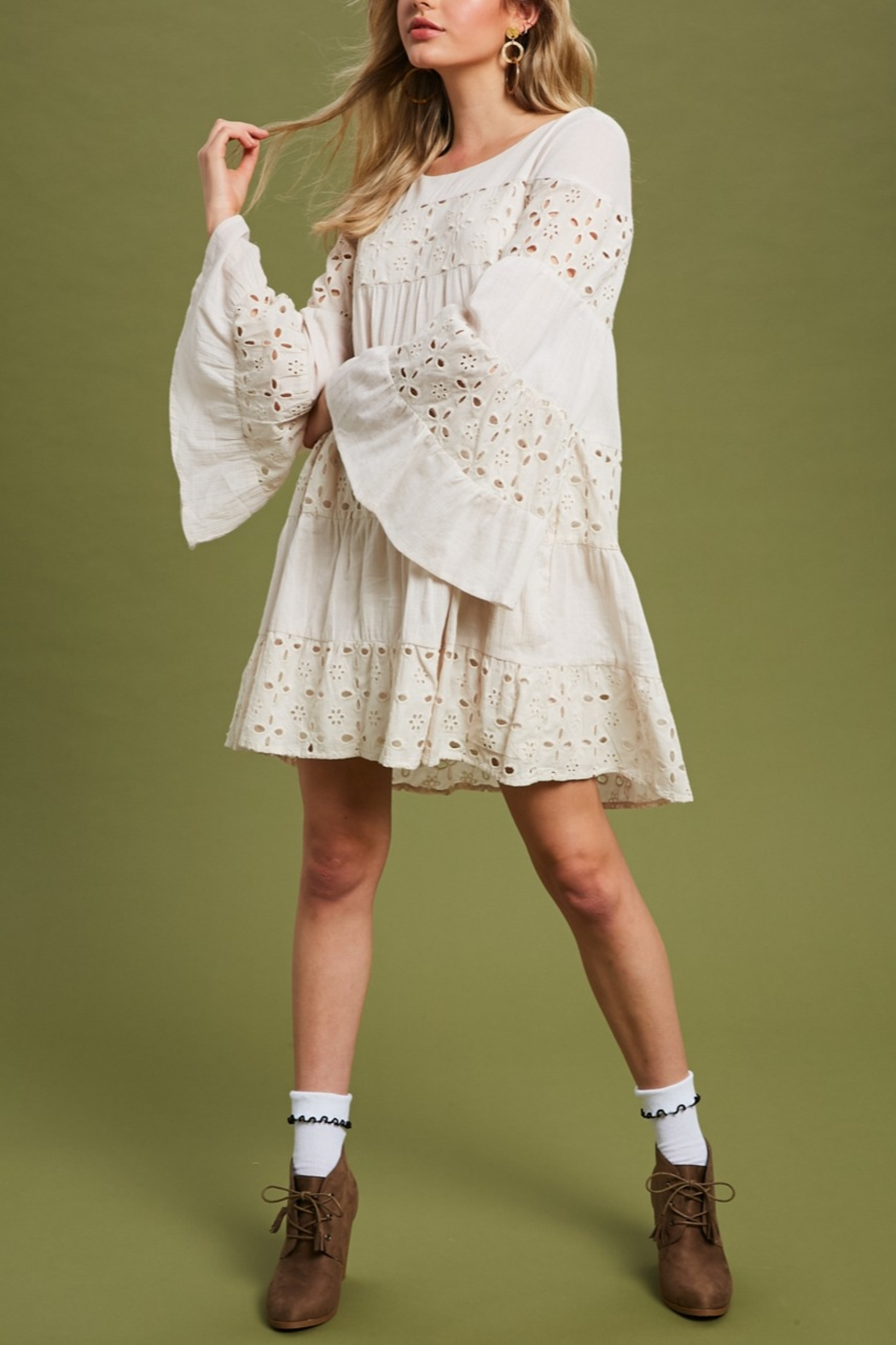 Listicle Bellsleeve Babydoll Dress - Front Cropped Image