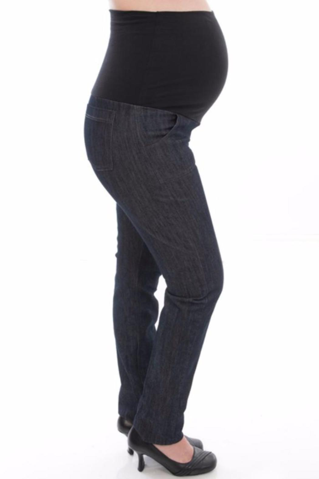 Bellybedaine Dark Maternity Jeans - Front Cropped Image