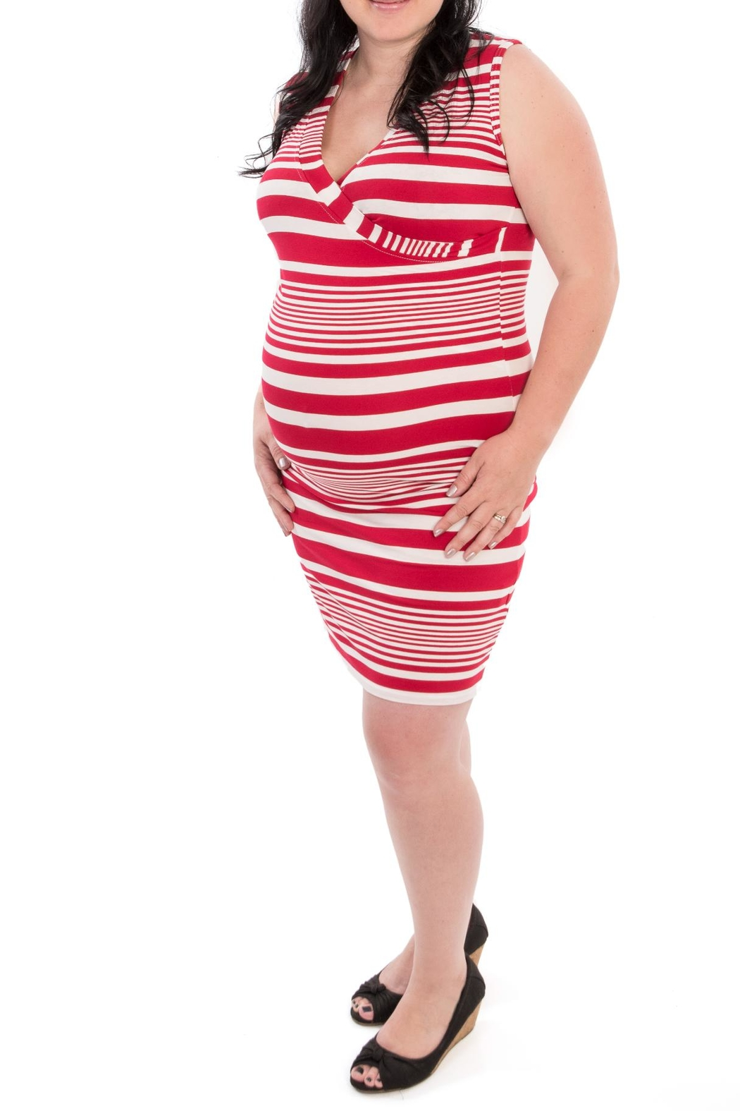 Bellybedaine Red Stripe Maternity Dress From Canada By