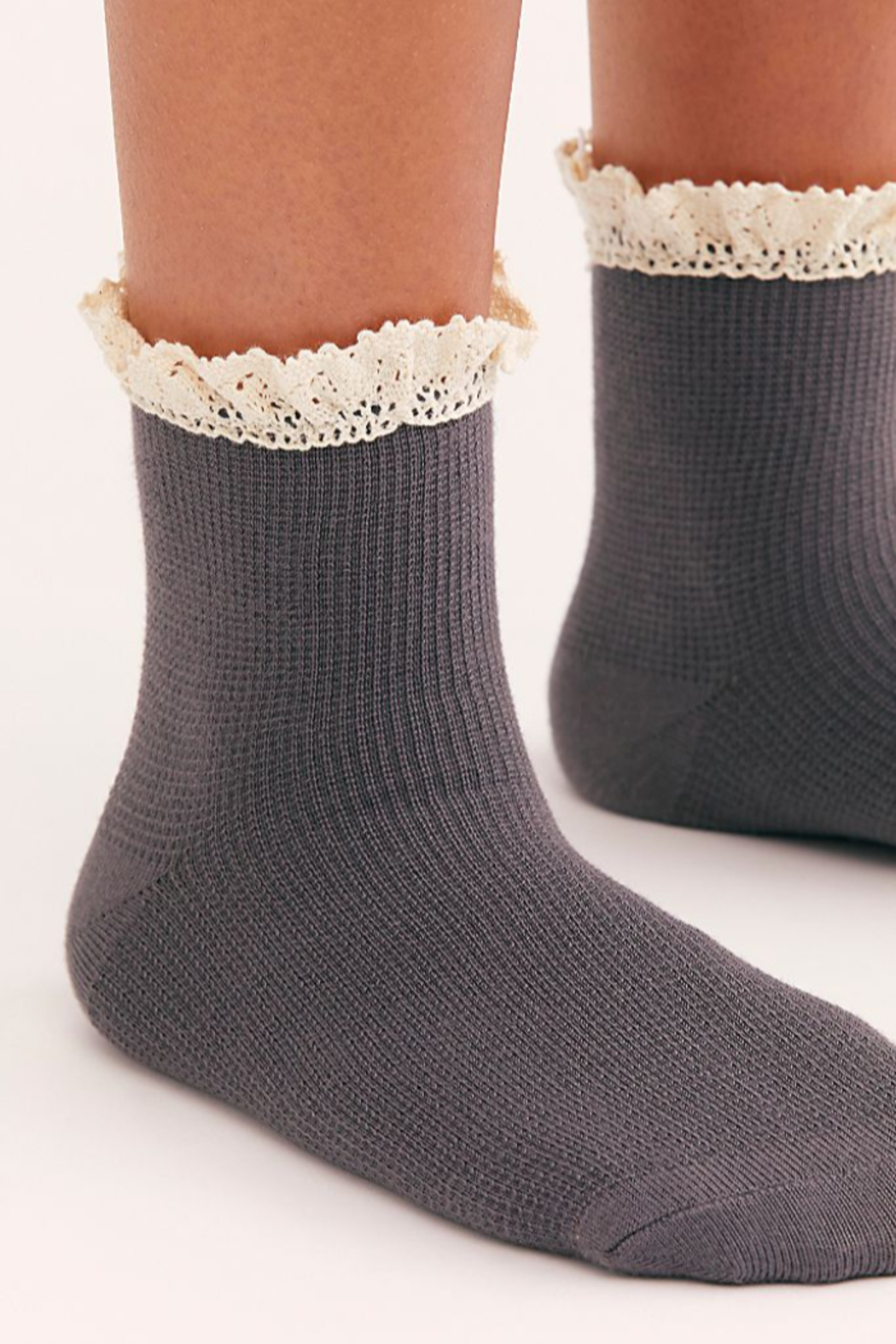 Free People Beloved Waffle Knit Ankle Socks - Front Full Image