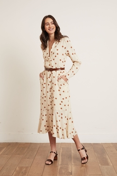 Shoptiques Product: Belted Beige Dress Featuring Brown Polka Dots