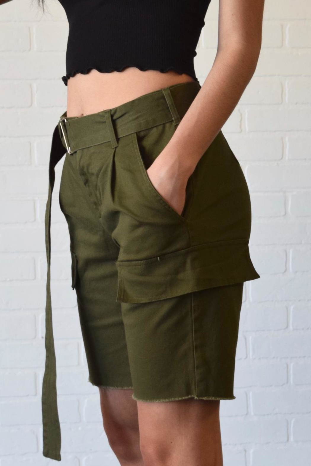Better Be Belted Bermuda Shorts - Front Full Image
