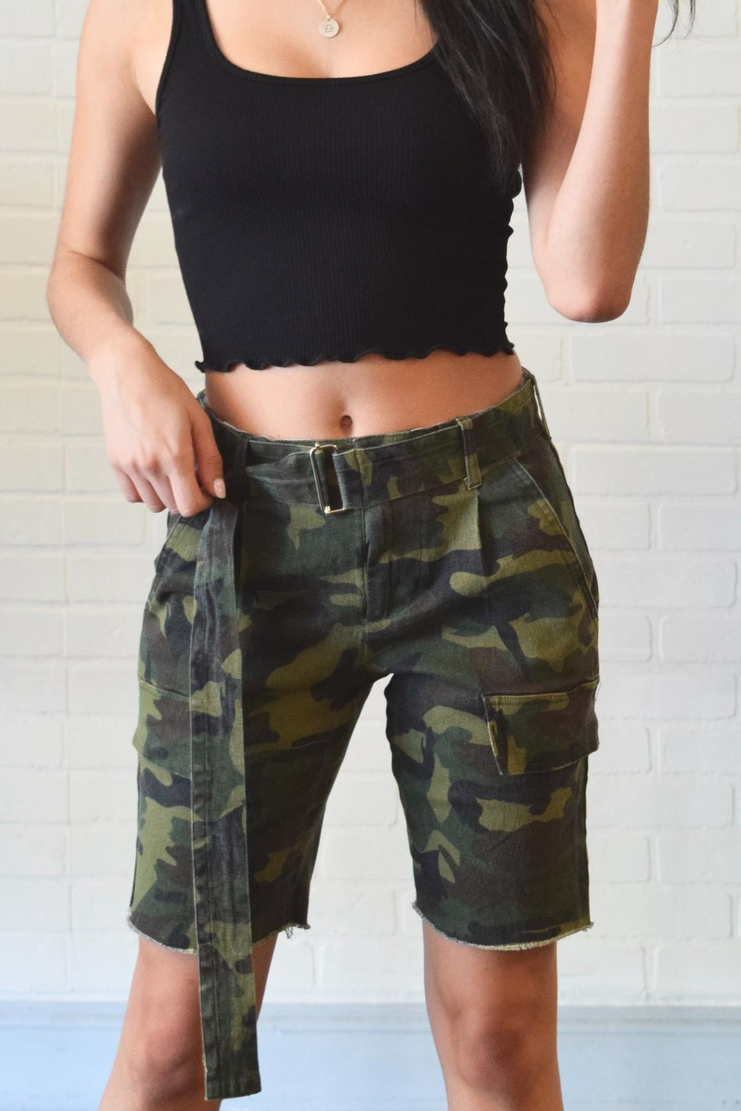 Better Be Belted Bermuda Shorts - Front Cropped Image