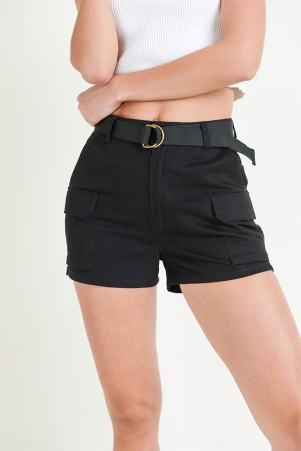 Love Tree Belted Cargo Shorts - Main Image