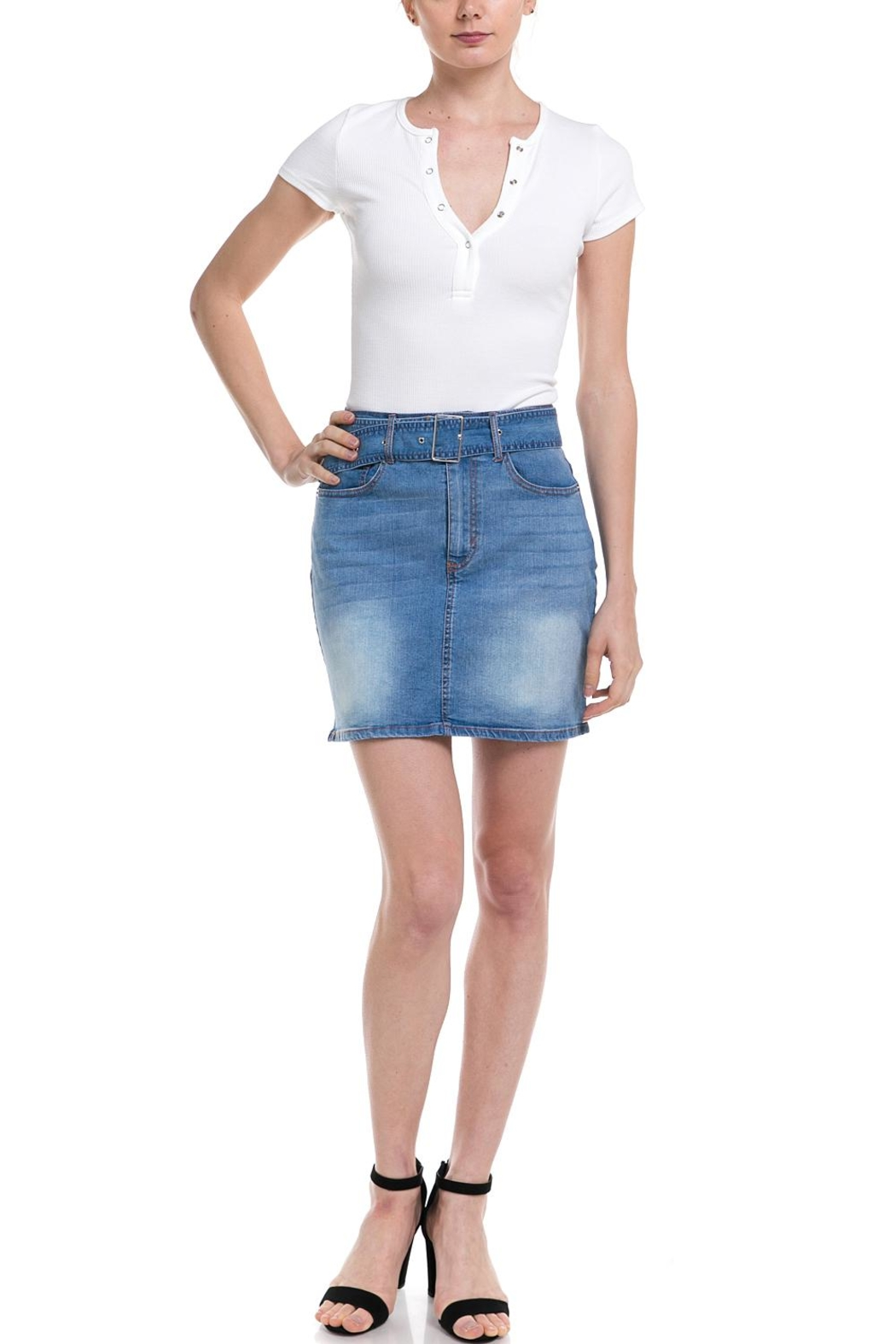 Love Tree Belted Denim Skirt - Front Cropped Image