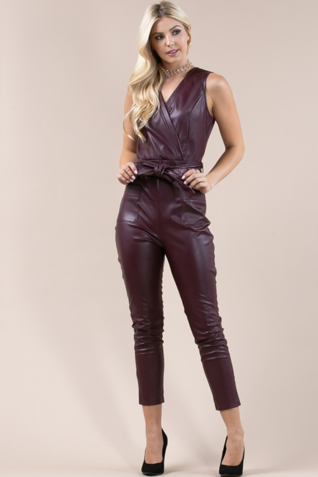 Olivaceous  Belted Faux Leather Jumpsuit - Front Full Image