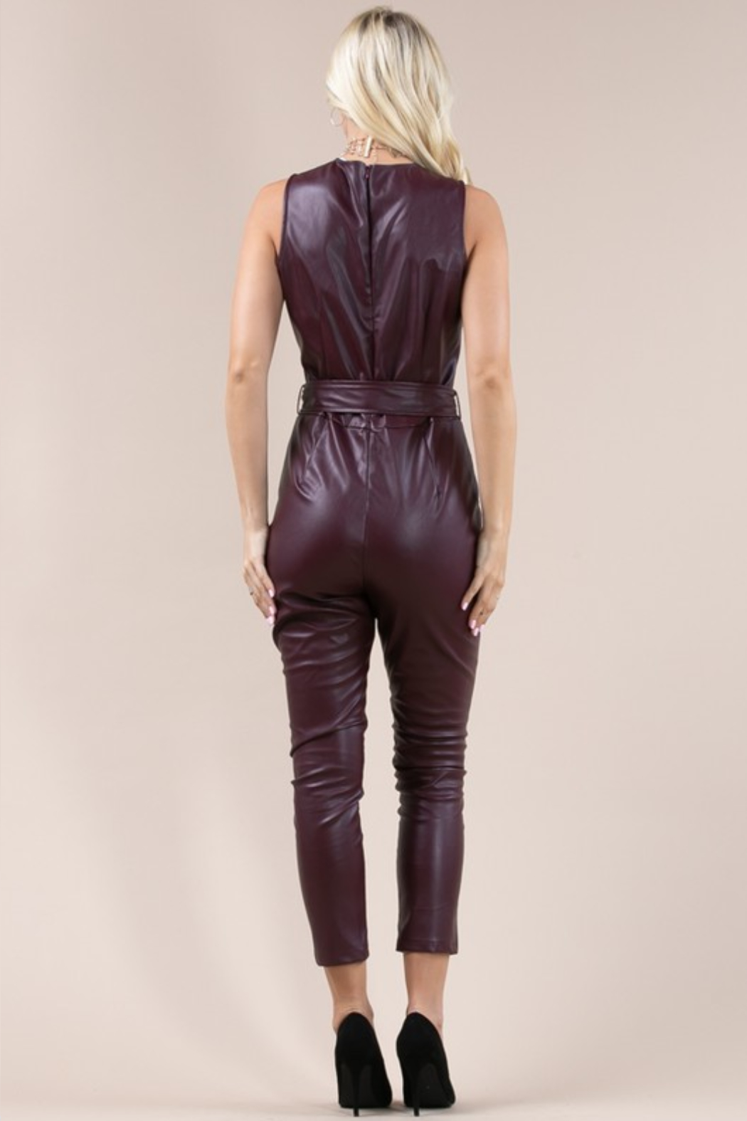 Olivaceous  Belted Faux Leather Jumpsuit - Side Cropped Image