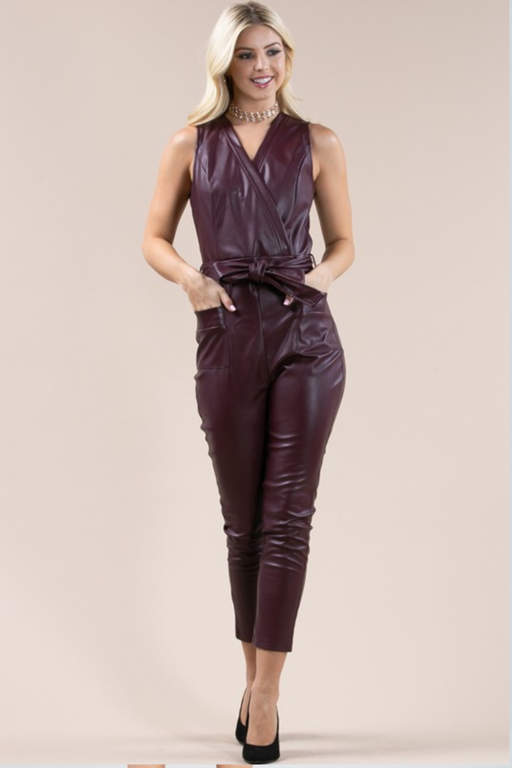 Olivaceous  Belted Faux Leather Jumpsuit - Main Image